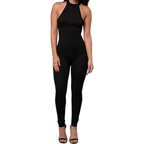 Yizenge Women's Halter Turtleneck Open Back Club Jumpsuits(M)
