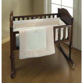 BabyDoll Ric Rac Cradle Bedding, Ecru, (Baby Cradle Bedding Set)