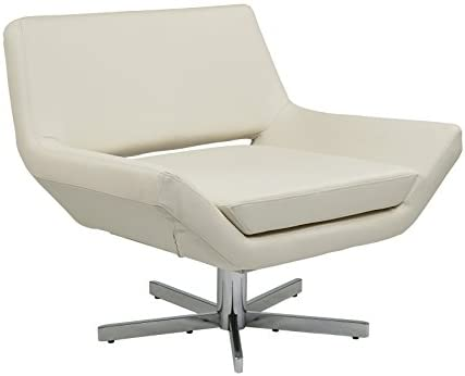 Avenue Six Yield Modern Lounge Chair, 40 , White Faux Leather