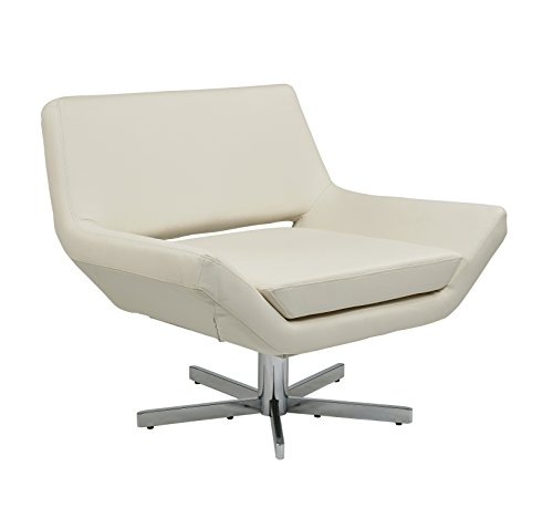 Avenue Six YLD5141-W32 AVE SIX Yield Modern Lounge Chair in Faux Leather with Chrome Finish Base, 40