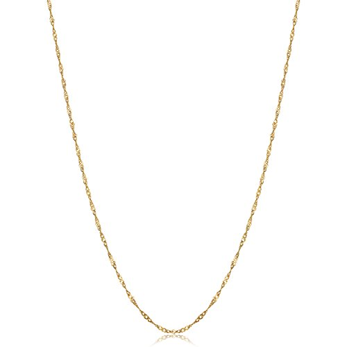 Solid 10k Yellow Gold Dainty Singapore Chain Necklace (0.85mm, 18 inch)