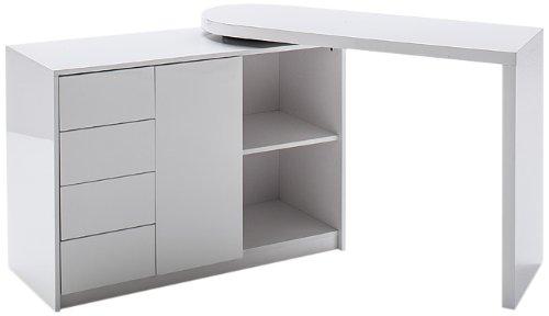 Schreibtisch weiß mit regal  Robas Lund Schreibtisch Matt Hochglanz weiß 42 x 166 x 77 cm ...
