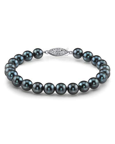 THE PEARL SOURCE 14K Gold 6-6.5mm Round Black Japanese Akoya Saltwater Cultured Pearl Bracelet for Women
