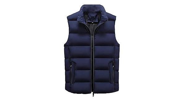 WSPLYSPJY Mens Warm Sleeveless Stand Collar Down Puffer Vest