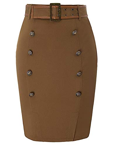 Belted Pencil Skirt - SCARLET DARKNESS Women's Pirate Costume Skirt Steampunk Gothic Belted Pencil Skirt Brown XL