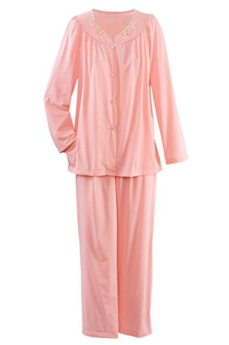 Shadowline Petals Long Sleeve Pajamas, Melon, 34 - Embroidered Long Sleeve Pajama Set