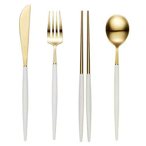 Bogen Eiffel 4-Piece 18/10 Stainless Steel Flatware Silverware Dinnerware Set Cutlery Tableware Include Knife Fork Spoon and chopsticks (Gold and White Polycarbonate Matte)