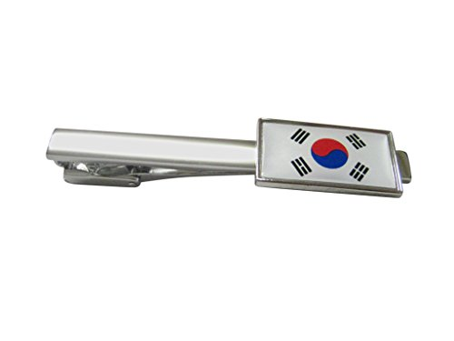 Thin Bordered Korea Flag Square Tie Clip
