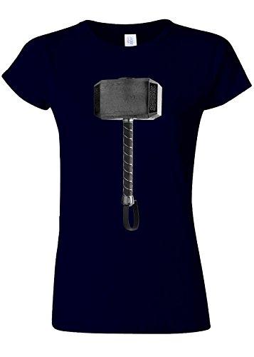 羊の段階楽しませるSuperhero Hammer Funny Novelty Navy Women T Shirt Top-S