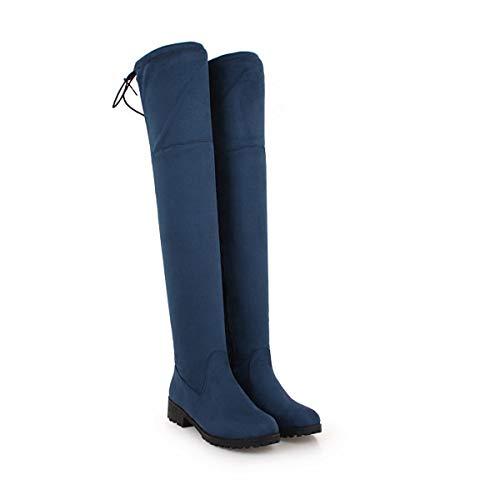 Sopra Blue Gli Stivali Alto Elastico Warm Al Con Da Tacchi Alti Ginocchio Lunghi Donna nwq6gyZY