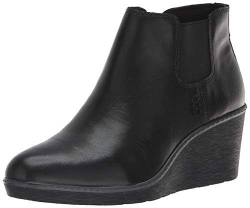 CLARKS Women's Hazen Flora Fashion Boot, Black Leather, 060