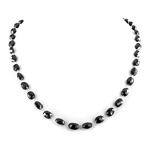 Barishh 18 inches 8mm Drum Shape Black Diamond Beads Necklace AAA. Certified by Barishh