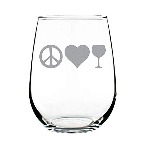 Peace Love Wine – Cute Funny Stemless Wine Glass, Large 17 Ounces, Etched Sayings, Gift ()