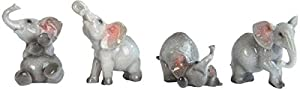 George S. Chen Imports Grey Elephant Figurines (Set of 4), 3""