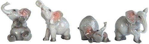 George S. Chen Imports Grey Elephant Figurines (Set of 4), (Baby Elephant Cake Topper)