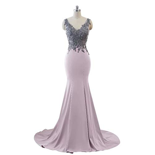 Lila Abendkleid Helles Party Mermaid Doppel Lange Ausschnitt Kleider Formale Frauen V wHa74qvx