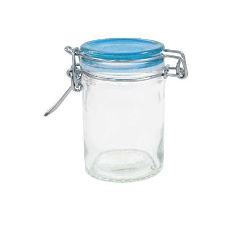 Mini Mason Jar Glass Container with Air Tight Lid 2.5 Oz (Blue)