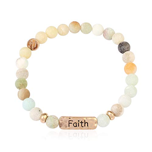RIAH FASHION Inspirational Bar Natural Stone Stretch Prayer Bracelet - Christian Religious Message Adjustable Cuff Bangle Blessed/Faith/Love/Hope/Bible (Faith - ()