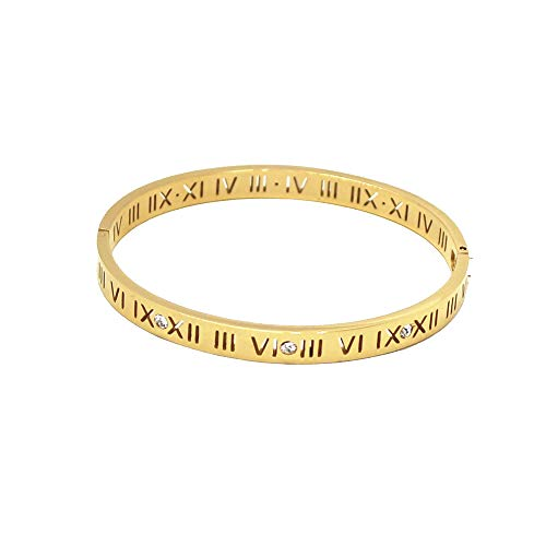 Baoli Zircon Jewelry Roman Numerals Bangle Bracelet for Women (Yellow Gold) ()