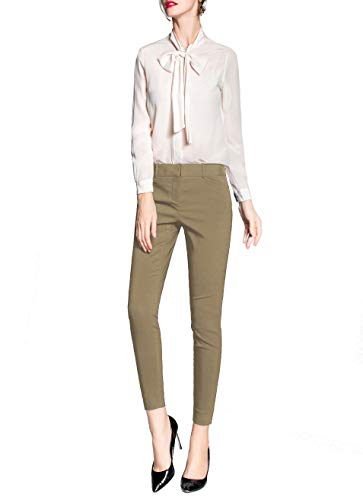 Women's Work Ankle Dress Pants Trousers Slacks All Day Comfort (Khaki, 12) - Khaki Ankle Pants