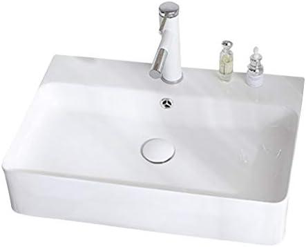 シンク周り用品 バスルームのシンク壁掛け角型洗面台シンプルなセラミック流域浴室バルコニーバニティ回転ホットとコールド蛇口 (Color : 白, Size : 60*42*13cm)