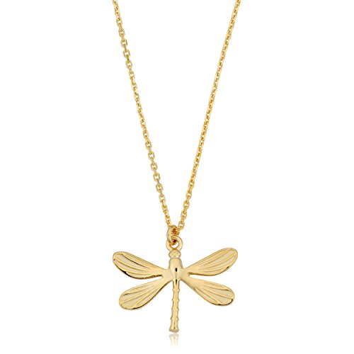 14K Yellow Gold Dragonfly Pendant Necklace, 18