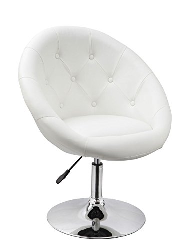 Accent Vanity (Duhome Jumbo Size Luxury White Synthetic Leather Contemporary Round Swivel Vanity Accent Chair Tufted Adjustable Lounge Pub Bar)