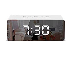 Digital Alarm Clocks, Electronic led Alarm Clocks with Date Temperature Portable Smart Mirror Clock with USB Charger for Bedroom Office & Travel