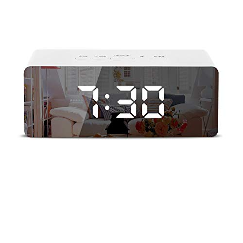Mirror Alarm Clocks?Electronic led Alarm Clocks with Date Temperature Portable Smart Mirror Clock with USB Charger for Bedroom Office & Travel
