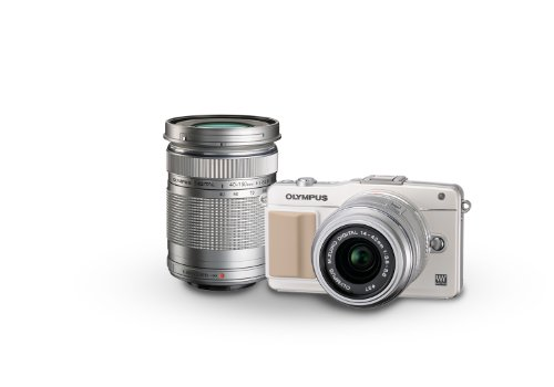 Olympus E-PM2 16MP Mirrorless Digital Camera with 14-42mm and 40-150mm Two Lens Kit (White) (Old Model)