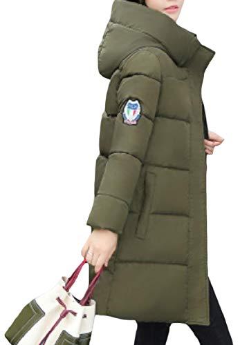 Spessore Militare Zip Giù Cappuccio Di A Con Verde Magro Cappotto Lungo Metà Mogogowomen Tasca Calda 6FBwtqw7