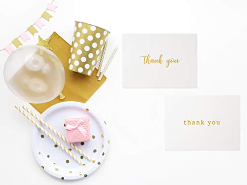 100 Thank You Cards Bulk - Gold Foil Letterpress Thank You Notes with Envelopes & Gold Sealing Stickers - Two Elegant Designs - Perfect for Baby Showers, Weddings, Graduations, Business - Blank Inside by Dayly Creations (Image #1)