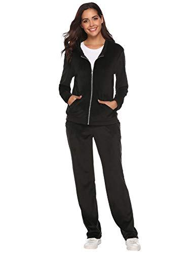 Velour Activewear - Aibrou Women's Velour Sweatsuit Active Zip Hoodie Tracksuit Set Loungewear (Black_1, Medium)