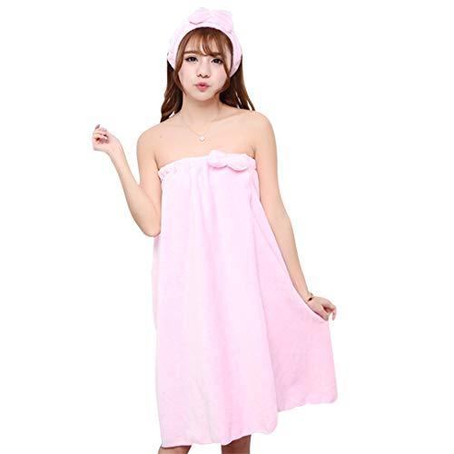 BHDOSHWWE Super Absorbent Towel Sexy Cute Bow Wrap Flannel Nightgown Skirt Bra Bath Towel Microfiber Towel Lady Headband Set for Adults 13 ()