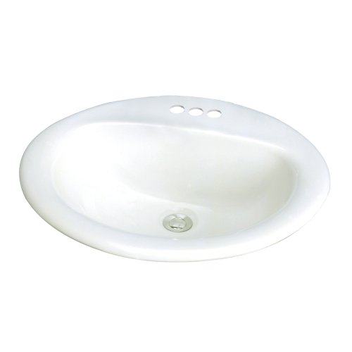 4 Vitreous China - Samson TL-1554-01 Akron Oval Drop-In Vitreous China Lavatory 4-Inch Centers, White