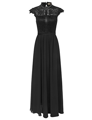 Womens Floral Lace Long Formal Evening Maxi Dress US4 Black KK1059-1 by Kate Kasin