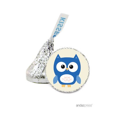 Andaz Press Chocolate Drop Labels Stickers Single, Baby Shower, Boy Owl, 216-Pack, for Hershey's Kisses Party Favors, Gifts, Decorations ()