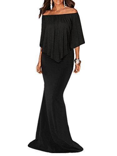 Sidefeel Women Off The Shoulder Ruffled Mermaid Maxi Party Dress Medium Black