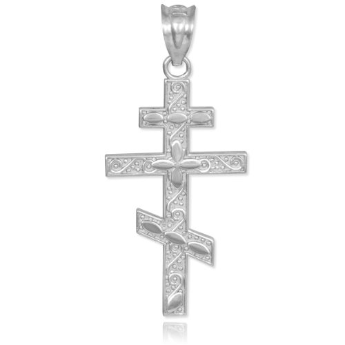 (925 Sterling Silver Russian Orthodox Cross Pendant)