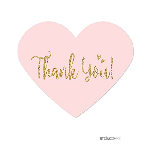 Price comparison product image Andaz Press Blush Pink Gold Glitter Print Wedding Collection,  Mini Heart Label Stickers,  Thank You,  75-Pack