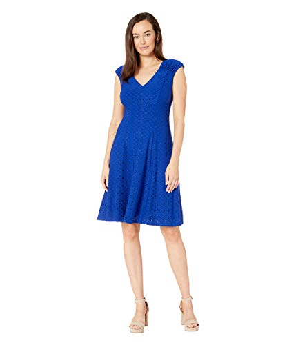 London Times Women's Shirred Shoulder Fit and Flare Royal Blue 6