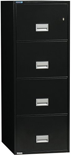 Phoenix Vertical 25 inch 4-Drawer Letter Fireproof File Cabinet with Water Seal - Black