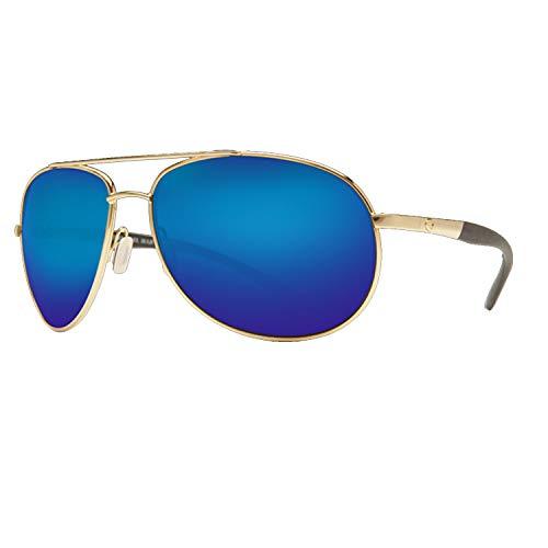 Costa Del Mar Sunglasses - Wingman- Glass / Frame: Gold Lens: Polarized Blue Mirror Wave 400 Glass ()