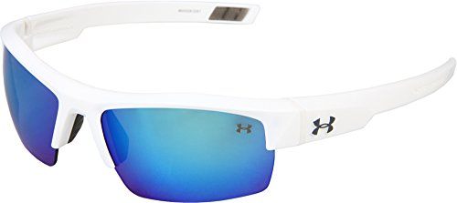 Under Armour Igniter Multireflection Rectangular Sunglasses, Shiny White Frame/Blue Lens, one size