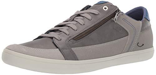 Geox Men's HALVER 3 LACE UP Sneaker with Zip, Grey/White, 44 Medium EU (11 US)