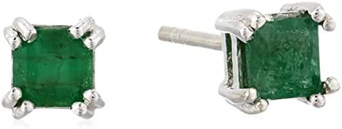 Sterling Silver Square Cut Emerald Stud Earrings