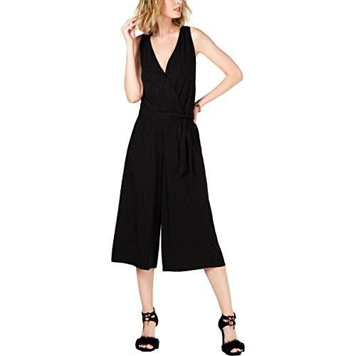 MICHAEL Michael Kors Womens Faux Wrap Glitter Jumpsuit Black M