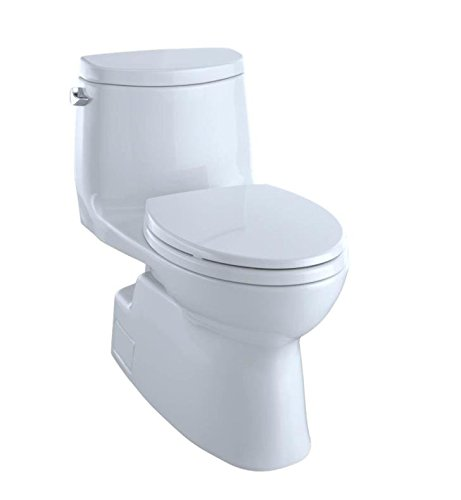 TOTO Carlyle II One-Piece Elongated 1.28 GPF Universal Height Skirted Toilet with CEFIONTECT, Colonial White