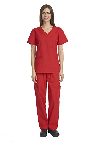 Denice Womens Scrub Sets / Multiple Pockets / Medical Uniforms 1050 (Large, Red)
