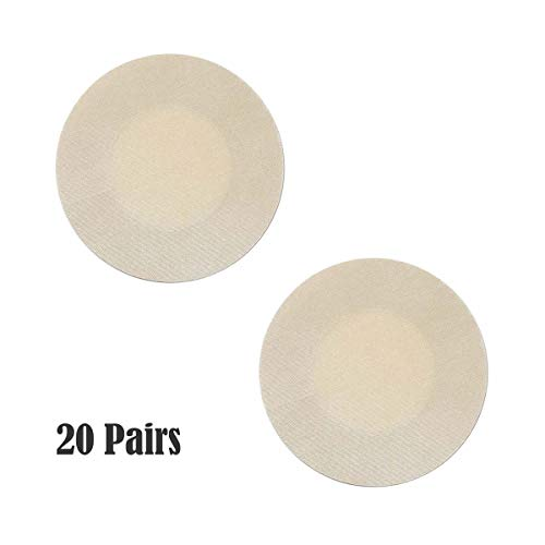 NippleCovers, 20 Pairs Sexy Breast Pasties Adhesive Bra Petal Tops Nippleless Cover Disposable (Round 20 Pairs)